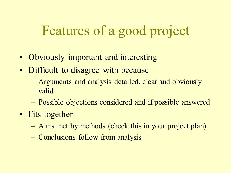 Features of a good project