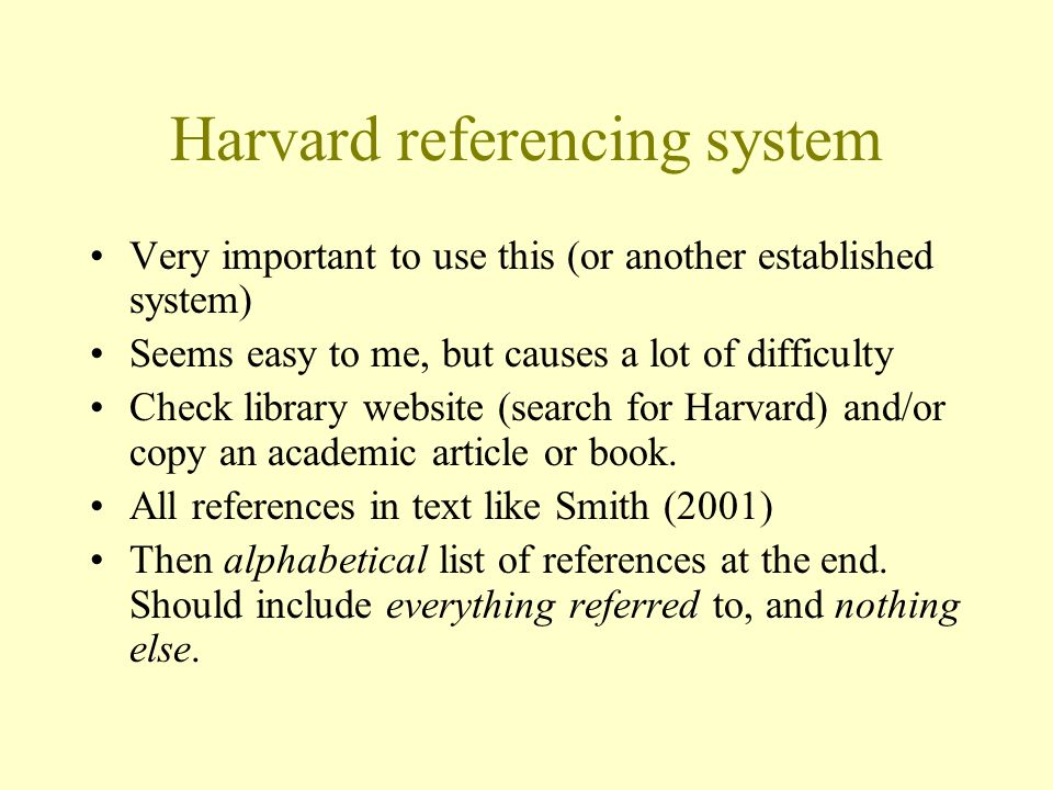 Harvard referencing system
