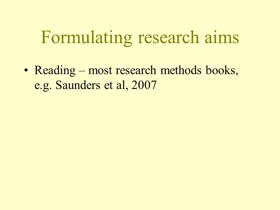 Formulating research aims