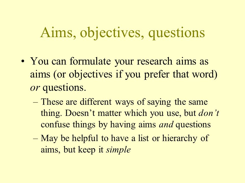Aims, objectives, questions