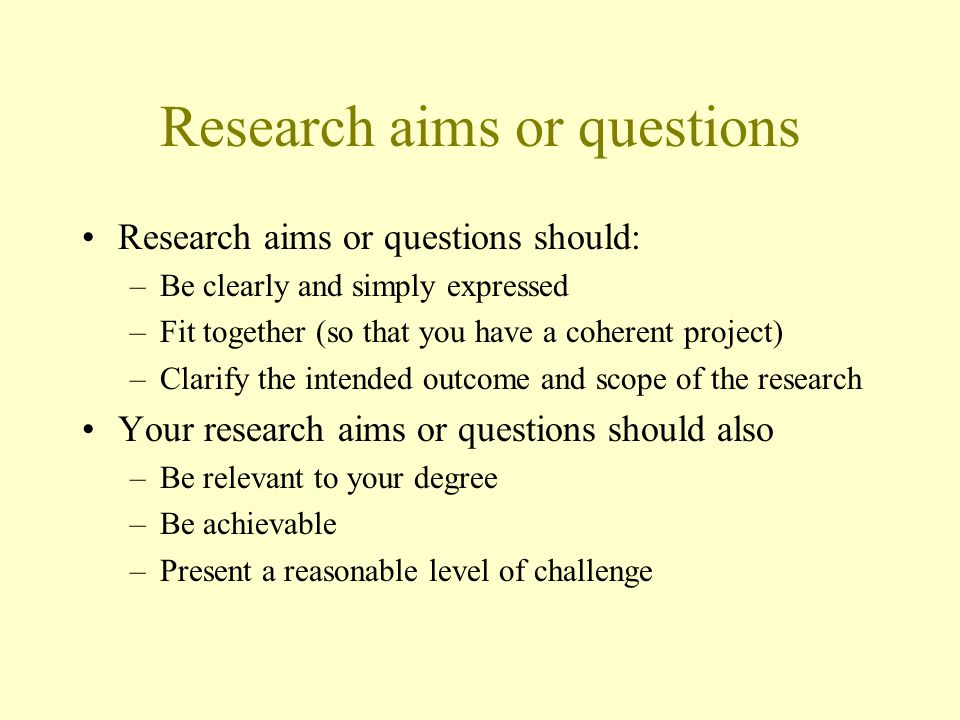 Research aims or questions
