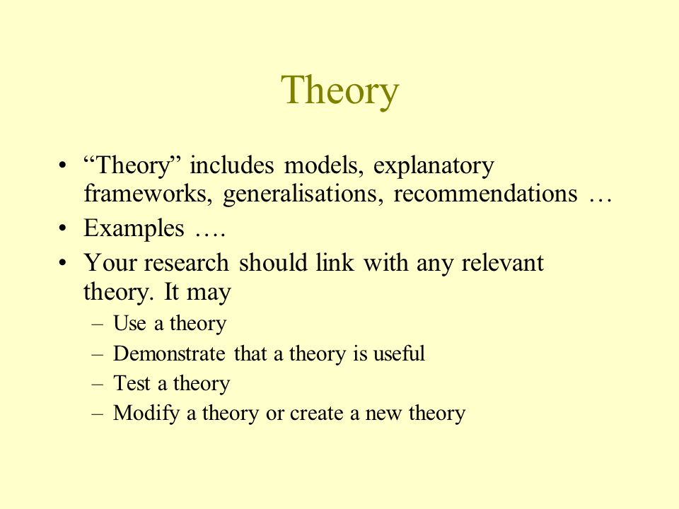 Theory Theory includes models, explanatory frameworks, generalisations, recommendations … Examples ….