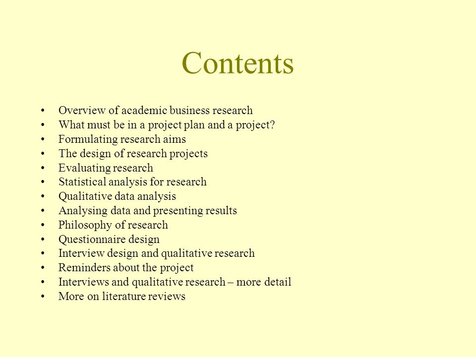 Contents Overview of academic business research