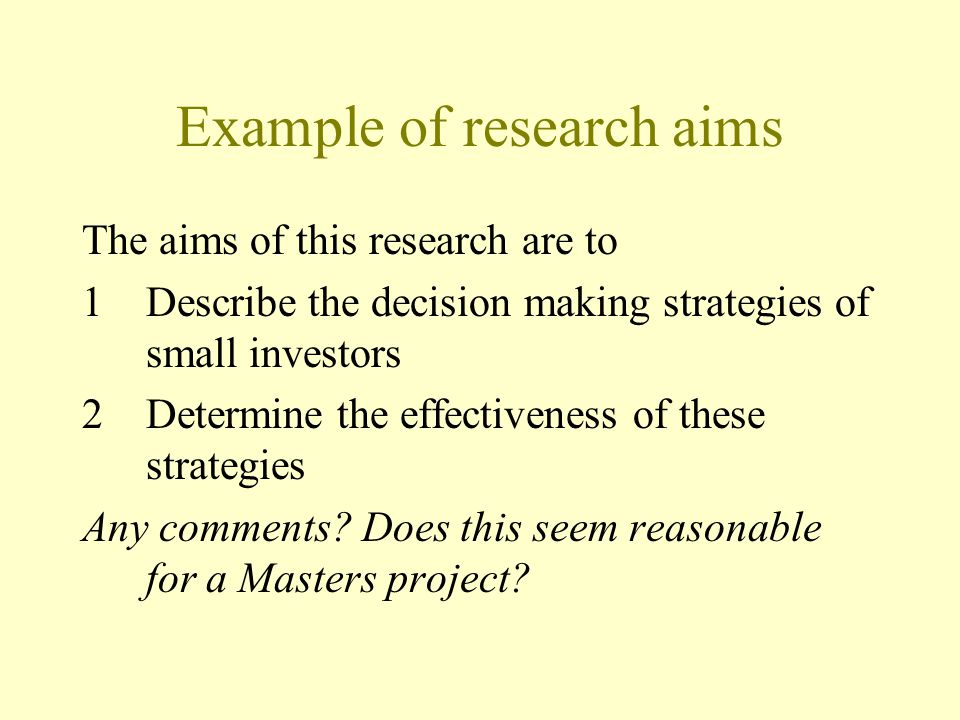 Example of research aims