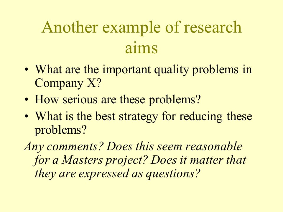 Another example of research aims