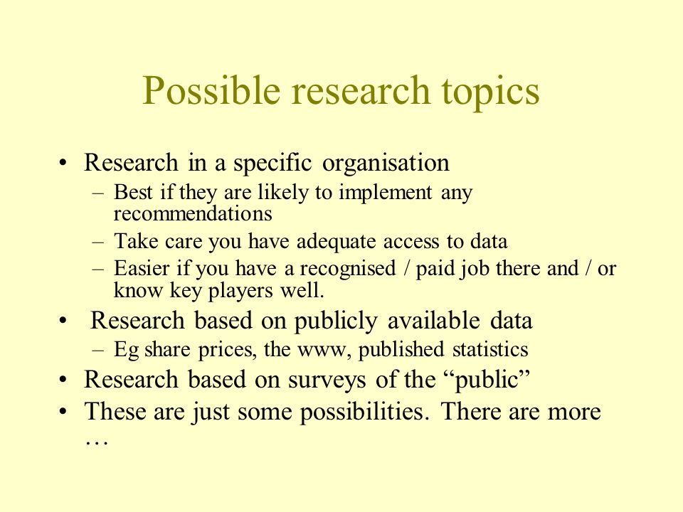 Possible research topics
