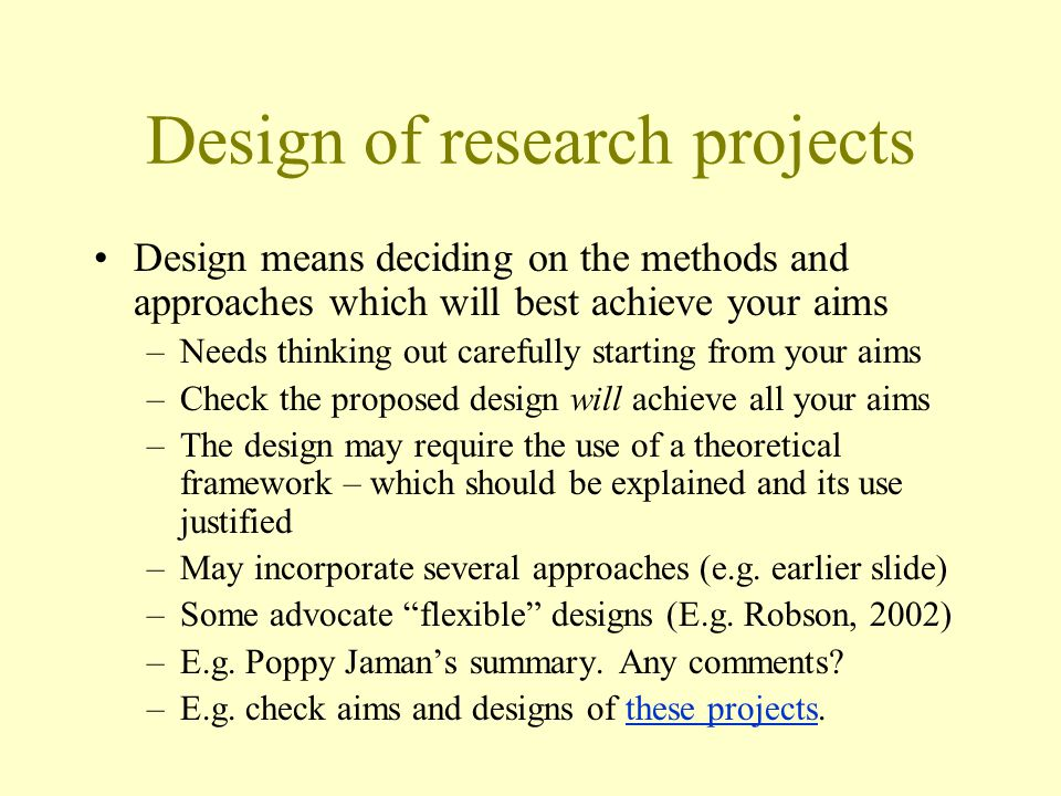 Design of research projects