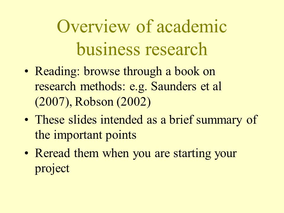 Overview of academic business research
