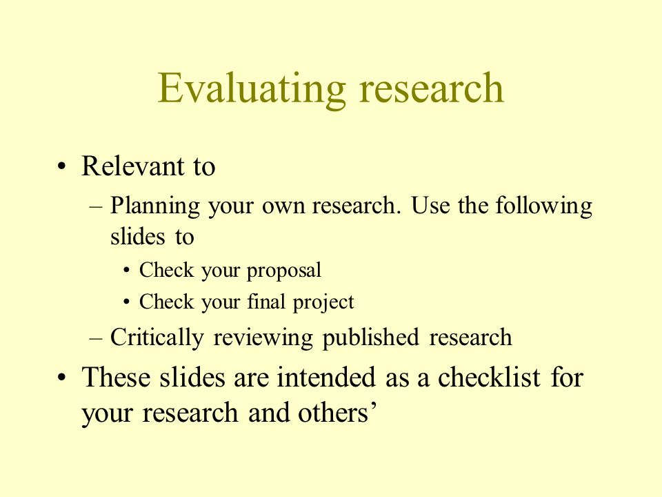 Evaluating research Relevant to