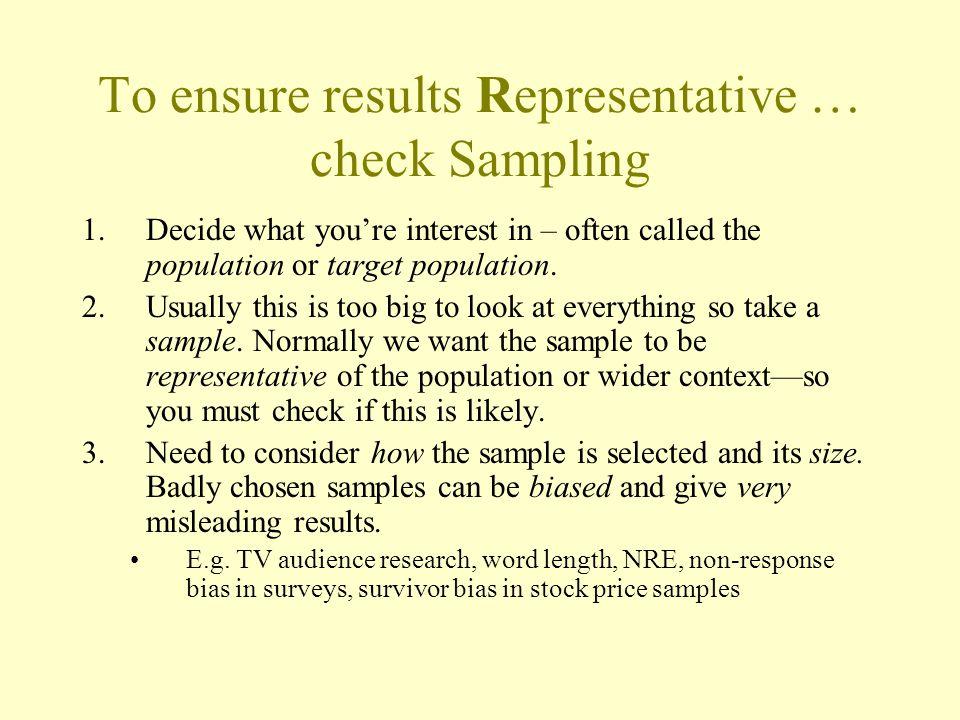 To ensure results Representative … check Sampling