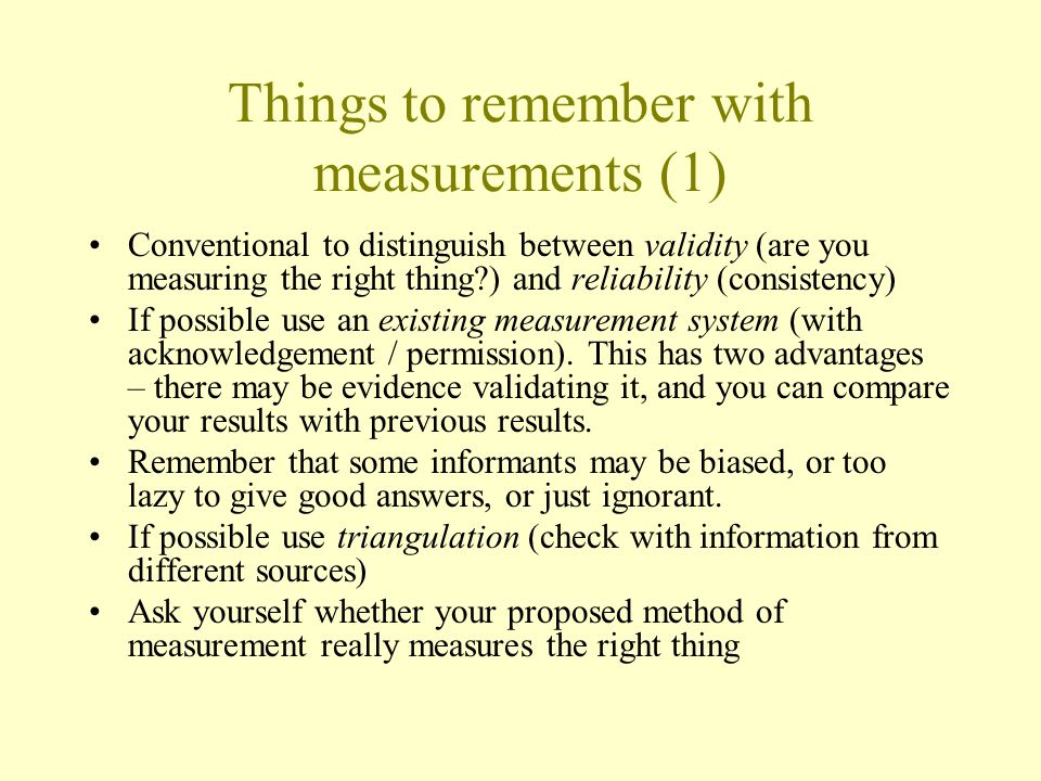 Things to remember with measurements (1)