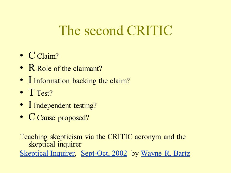 The second CRITIC C Claim R Role of the claimant