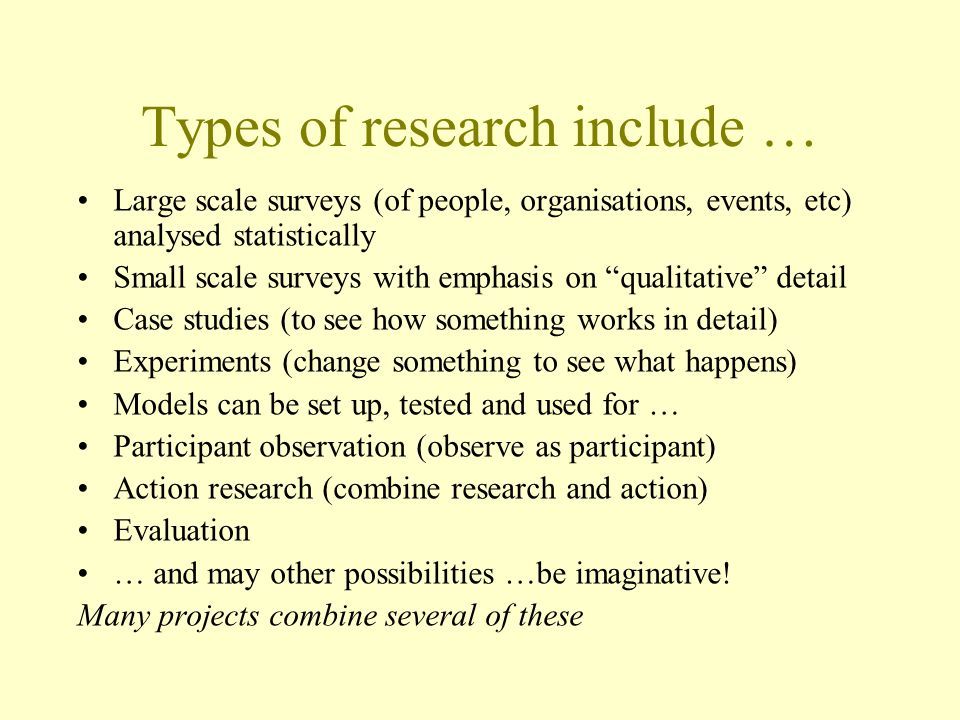 Types of research include …
