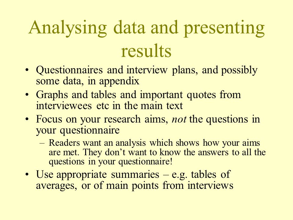 Analysing data and presenting results