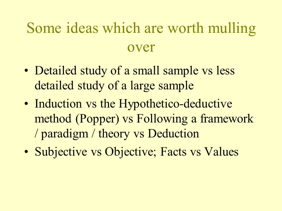 Some ideas which are worth mulling over