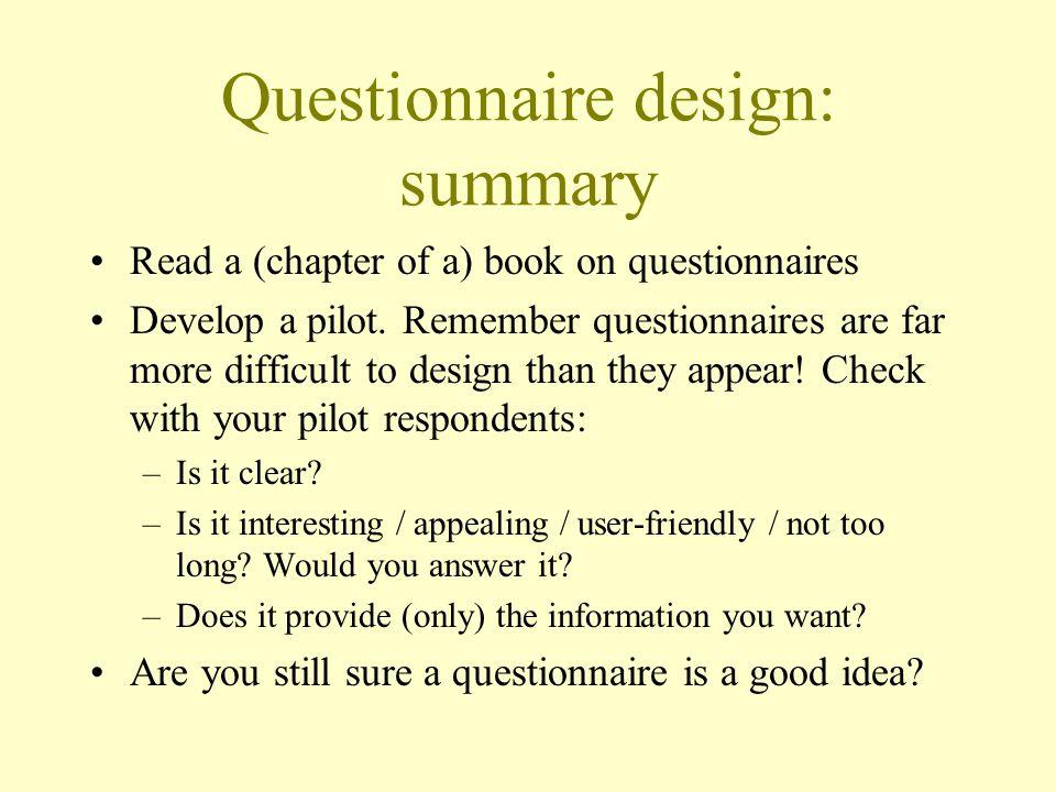 Questionnaire design: summary
