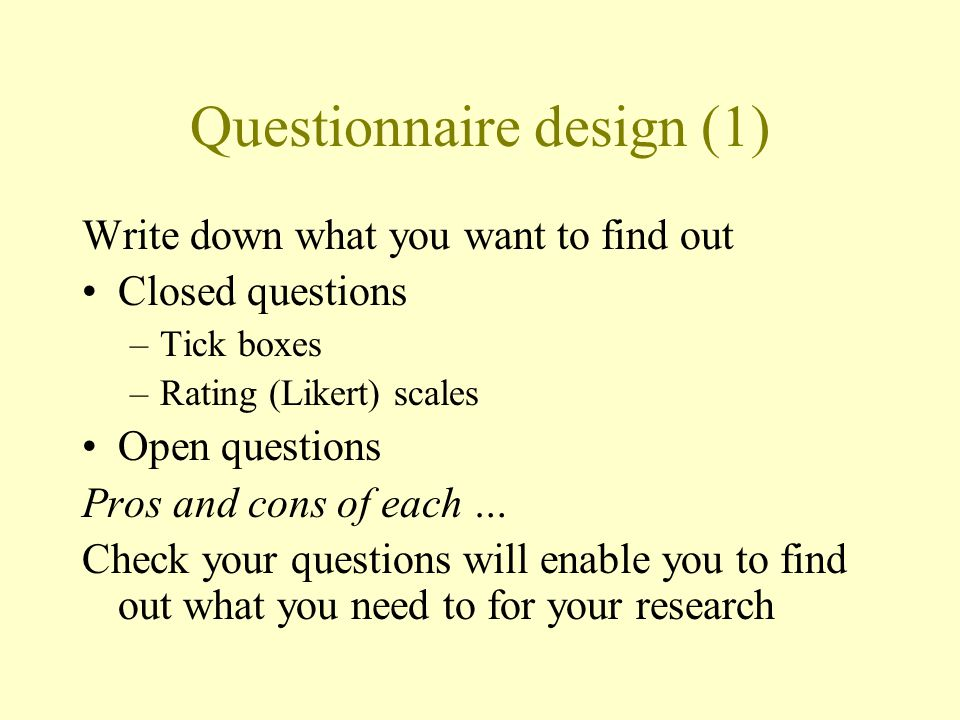 Questionnaire design (1)