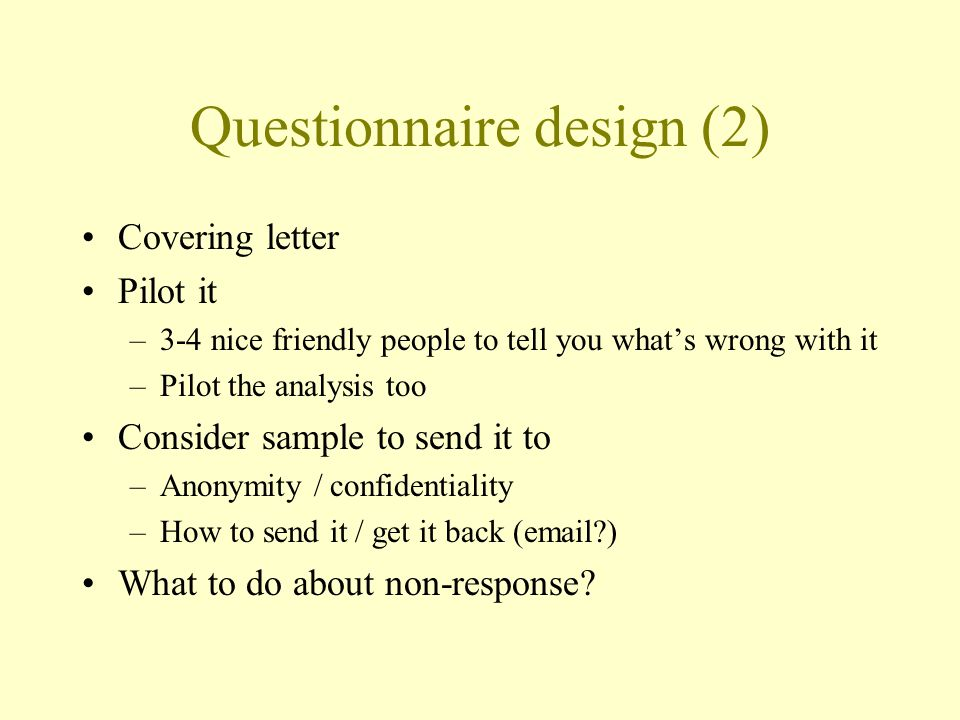 Questionnaire design (2)