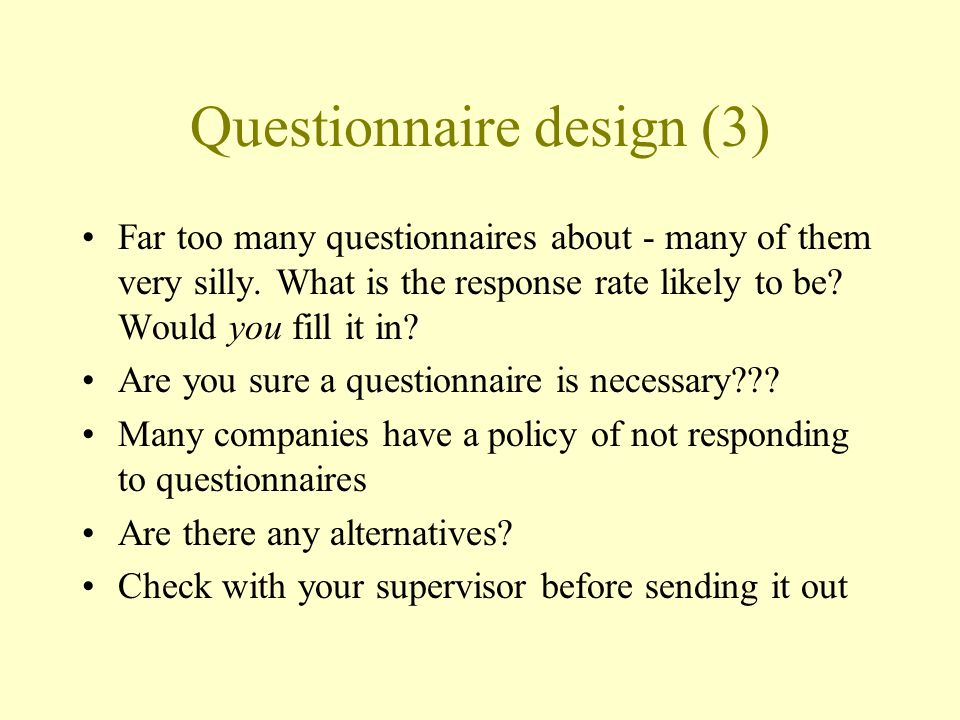 Questionnaire design (3)