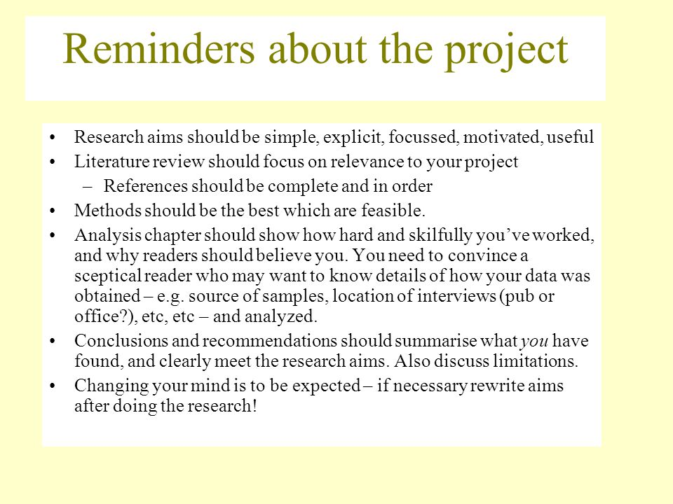 Reminders about the project