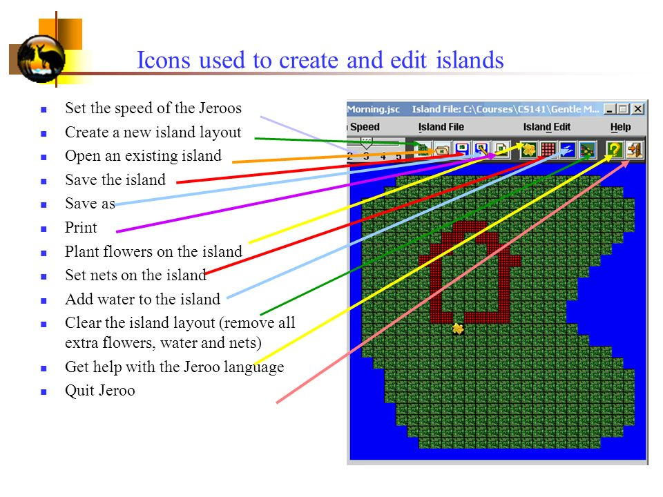 Icons used to create and edit islands