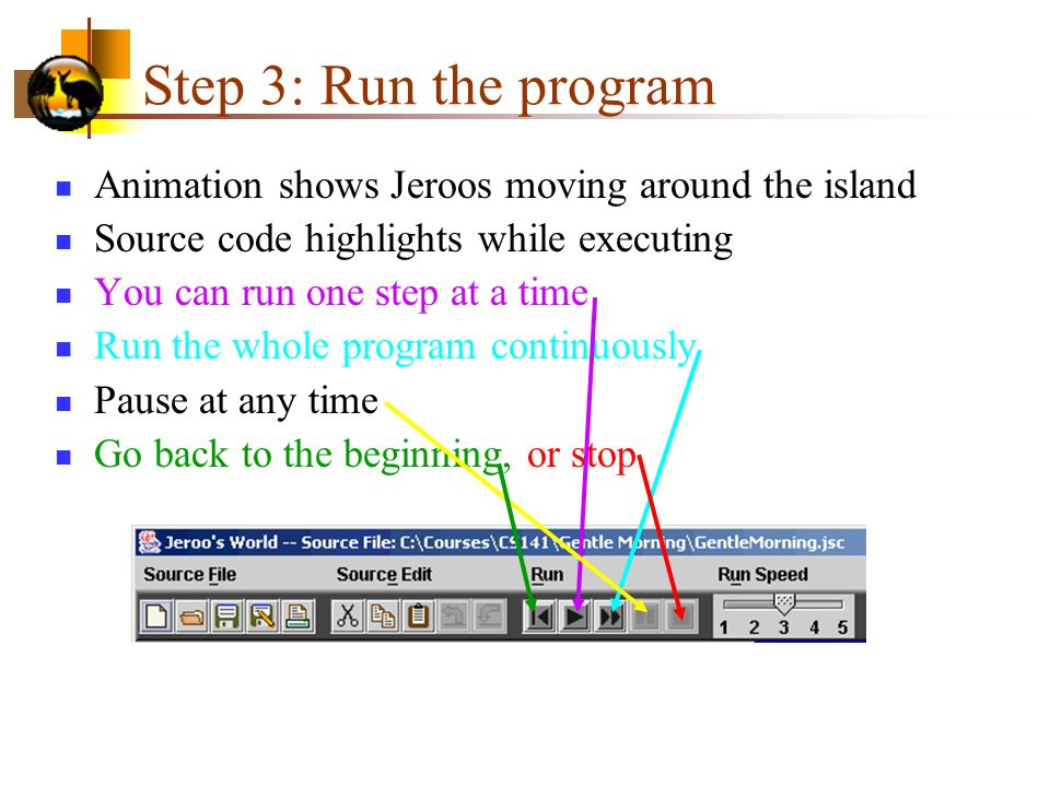 Step 3: Run the program Animation shows Jeroos moving around the island. Source code highlights while executing.