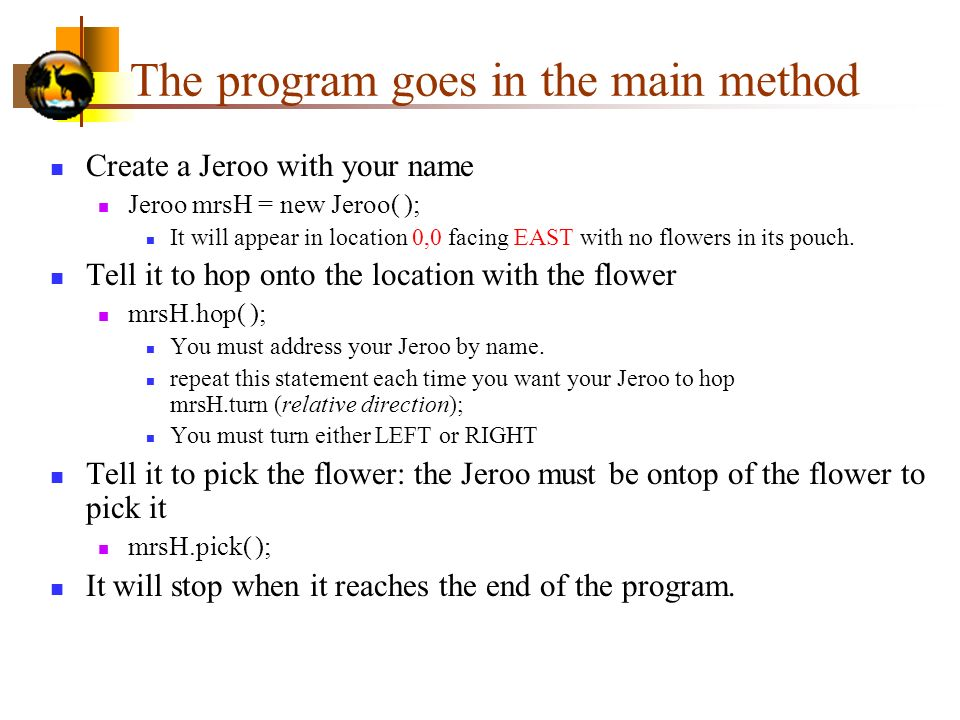 The program goes in the main method