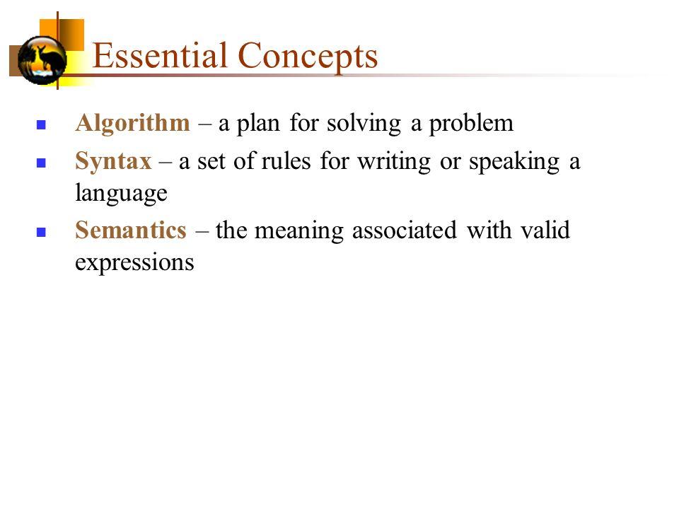 Essential Concepts Algorithm – a plan for solving a problem