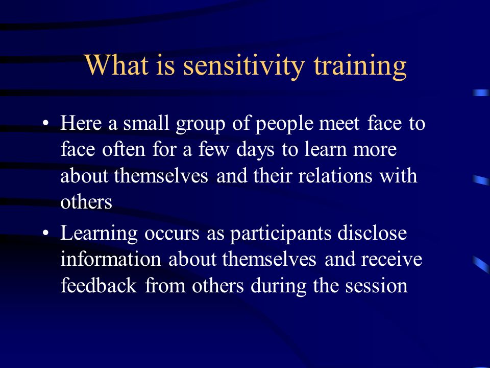 What is sensitivity training