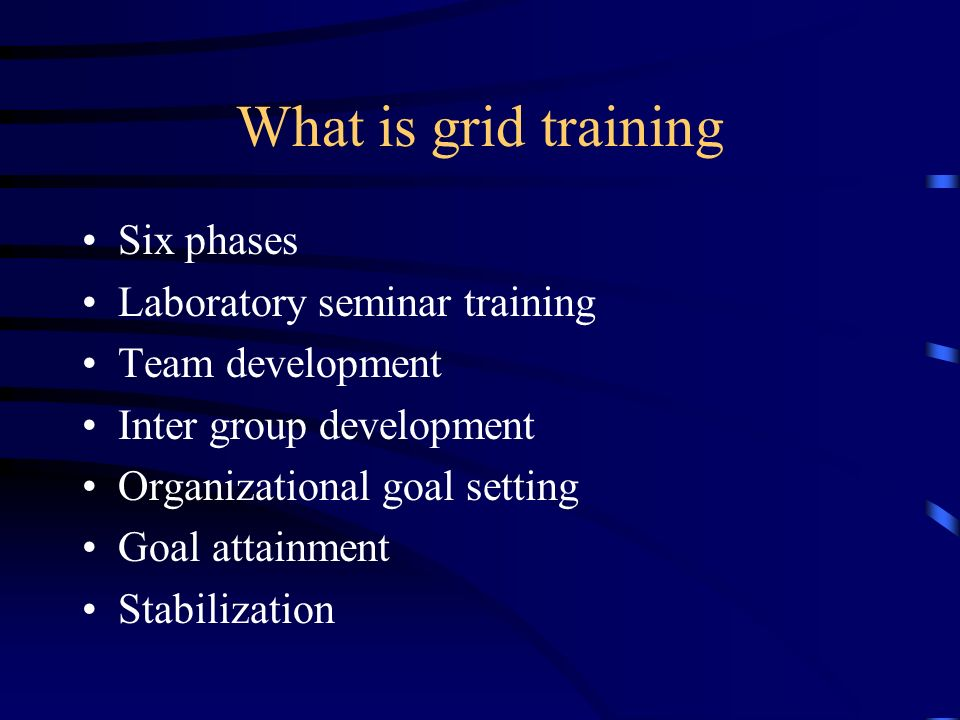What is grid training Six phases Laboratory seminar training