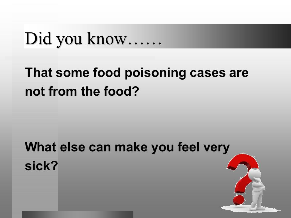 Did you know…… That some food poisoning cases are not from the food