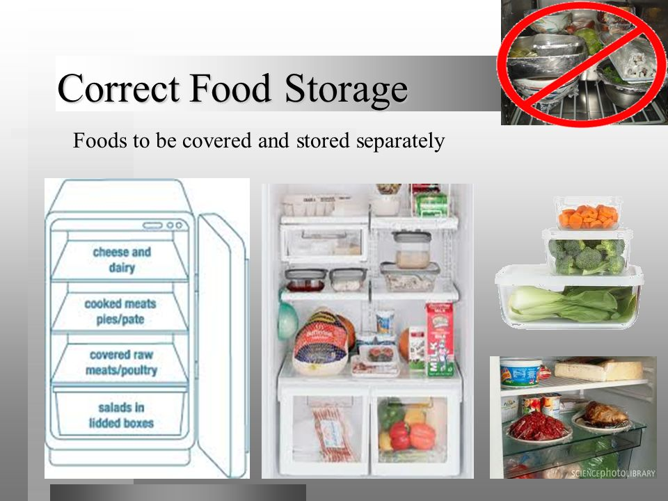 Foods to be covered and stored separately