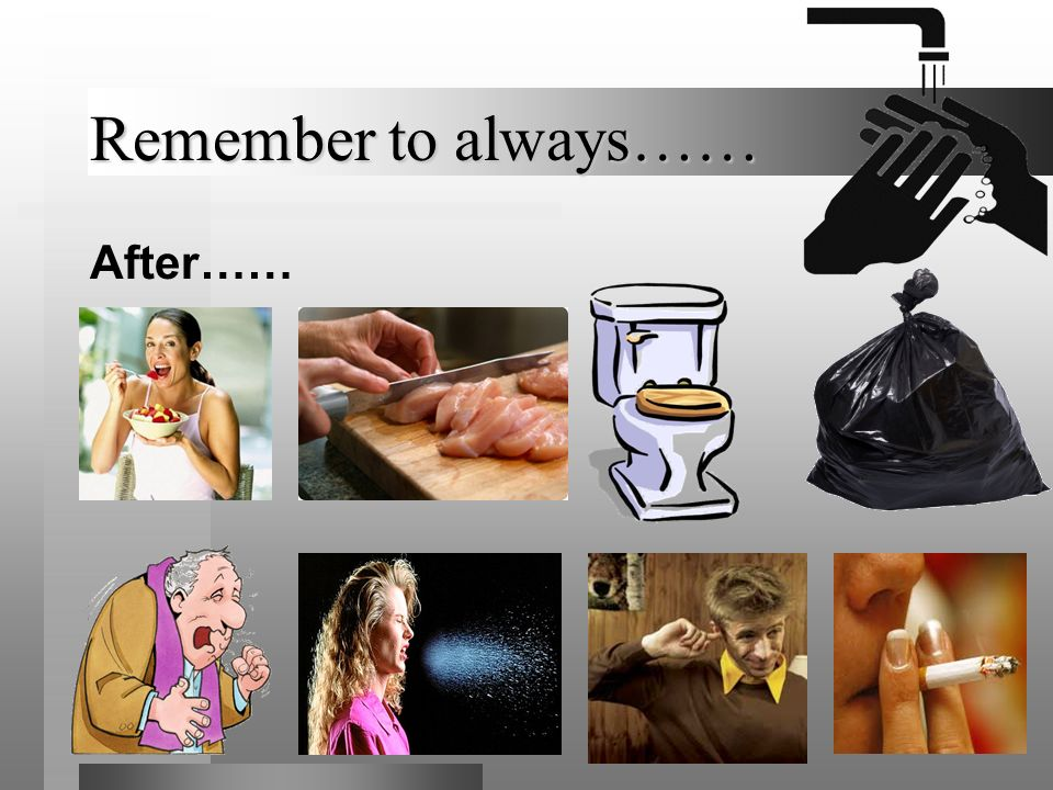 Remember to always…… After……