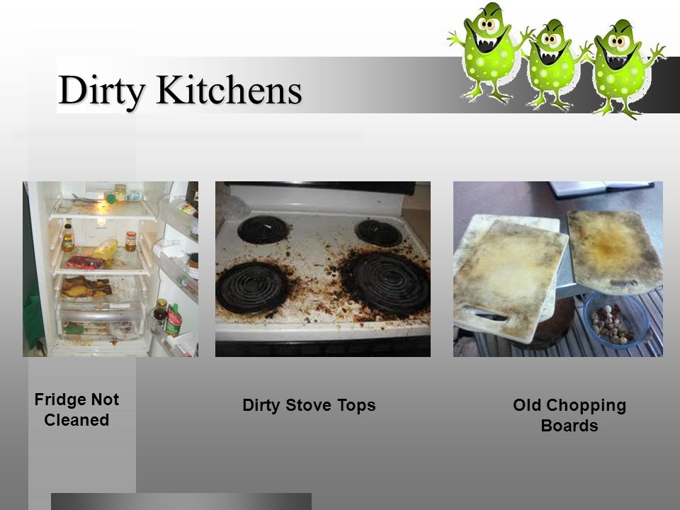 Dirty Kitchens Fridge Not Cleaned Dirty Stove Tops Old Chopping Boards