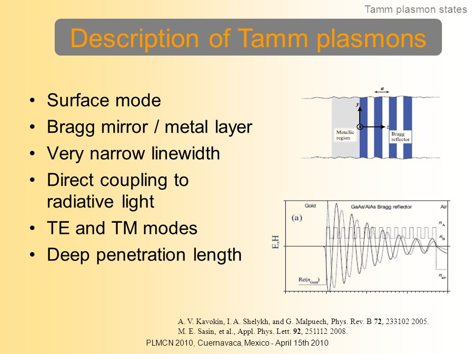 Description of Tamm plasmons