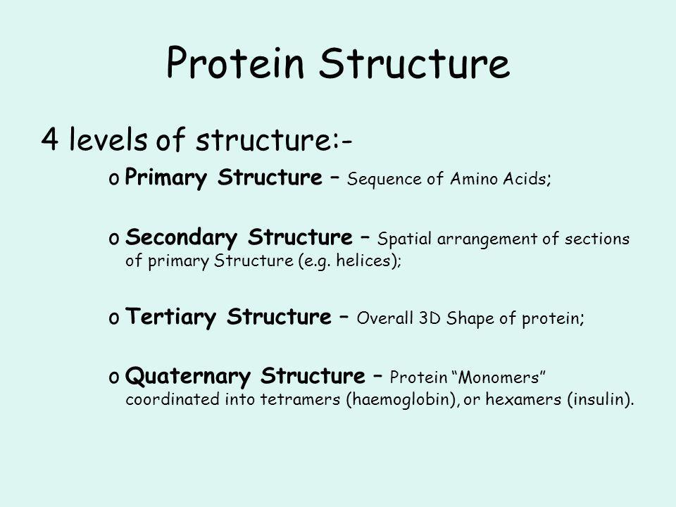 Protein Structure 4 levels of structure:-