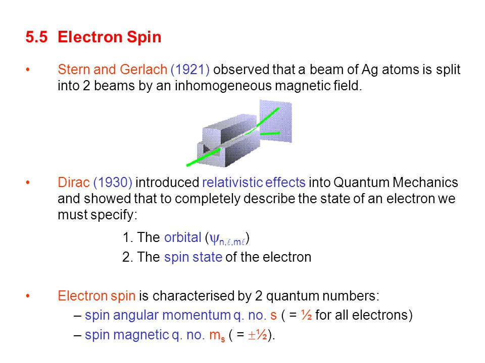 5.5 Electron Spin Stern and Gerlach (1921) observed that a beam of Ag atoms is split into 2 beams by an inhomogeneous magnetic field.