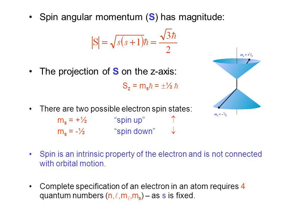 Spin angular momentum (S) has magnitude: