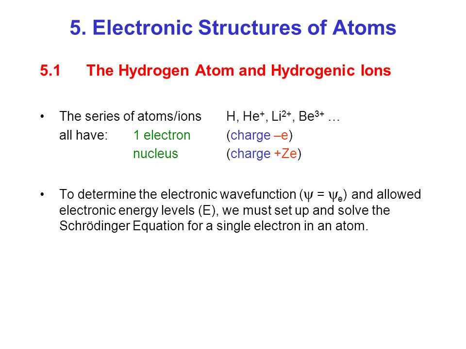 5. Electronic Structures of Atoms
