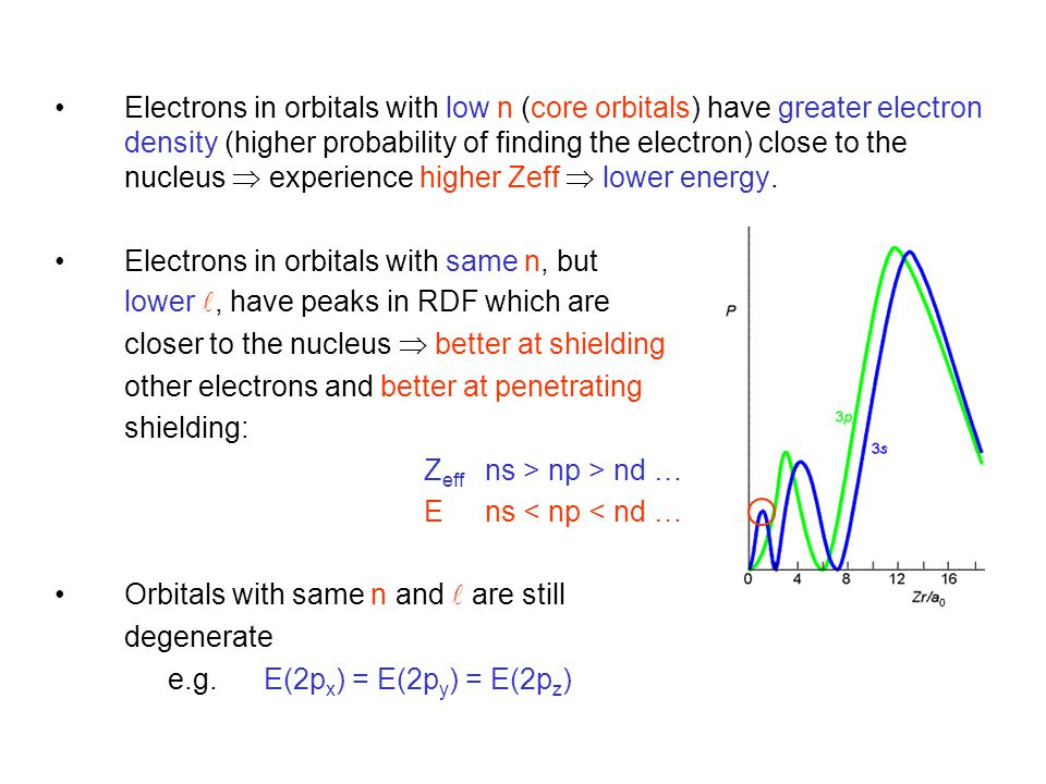 Electrons in orbitals with low n (core orbitals) have greater electron density (higher probability of finding the electron) close to the nucleus  experience higher Zeff  lower energy.