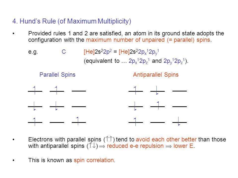 4. Hund's Rule (of Maximum Multiplicity)