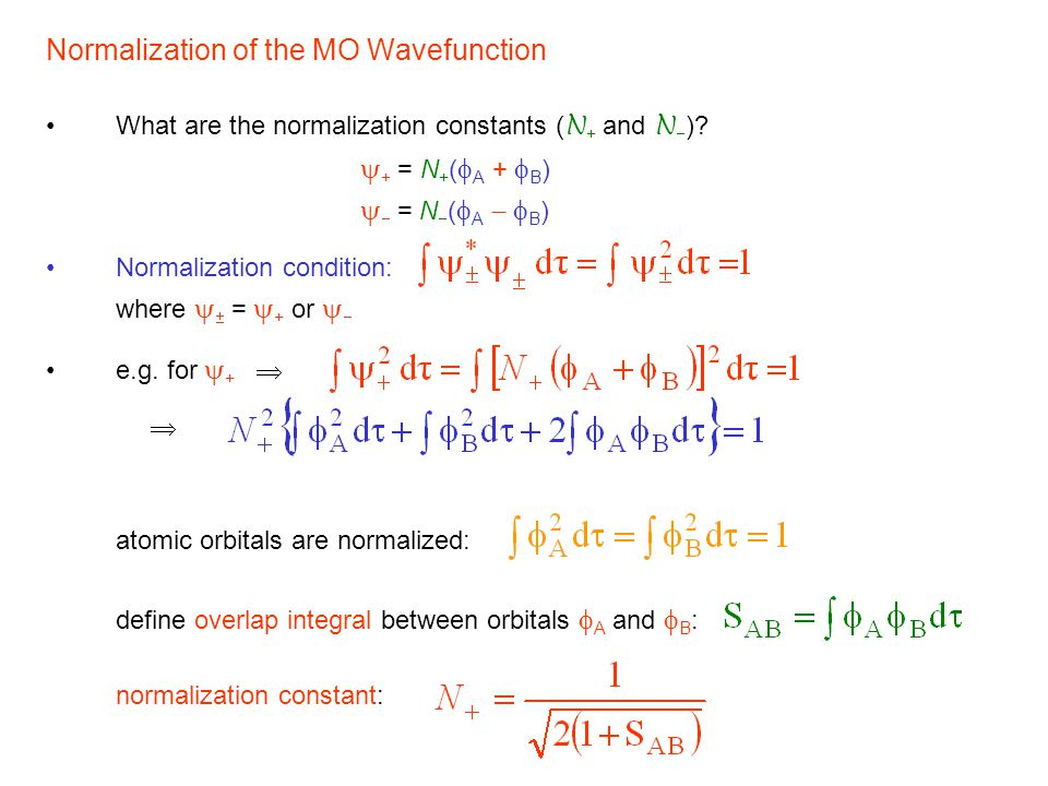 Normalization of the MO Wavefunction