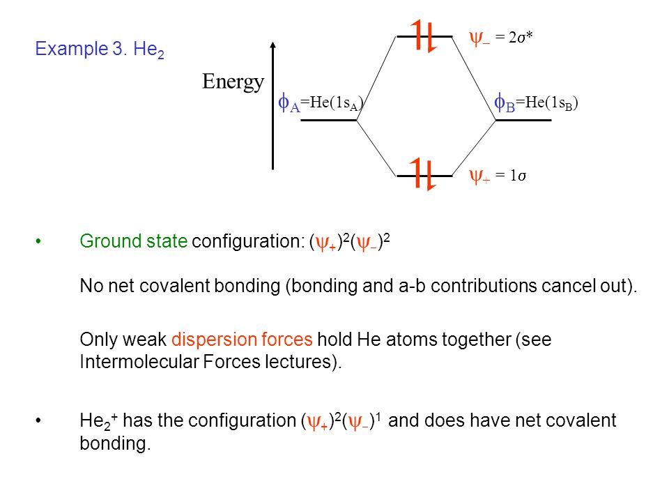 A=He(1sA) B=He(1sB) + = 1  = 2* Energy Example 3. He2