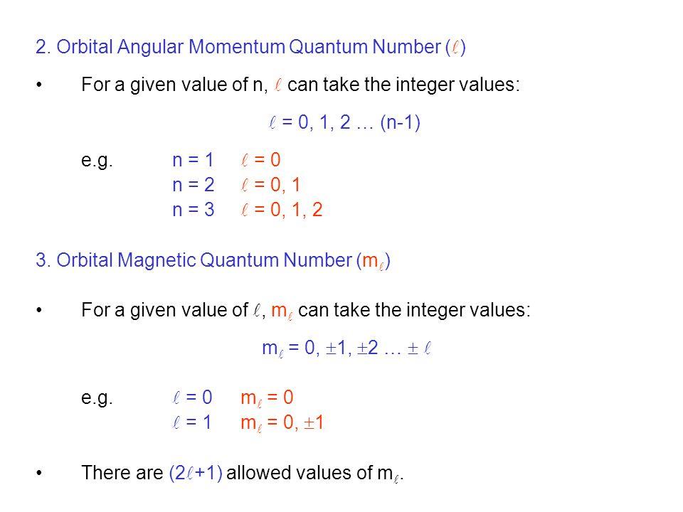 2. Orbital Angular Momentum Quantum Number ()