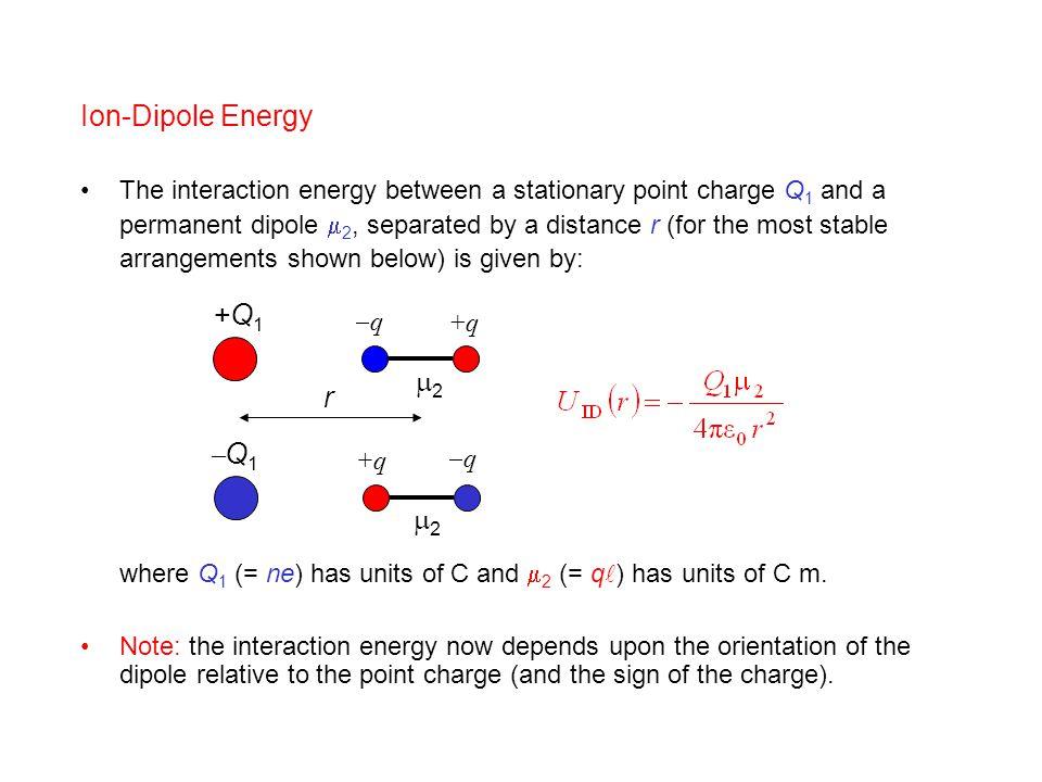 Ion-Dipole Energy +Q1 2 r Q1