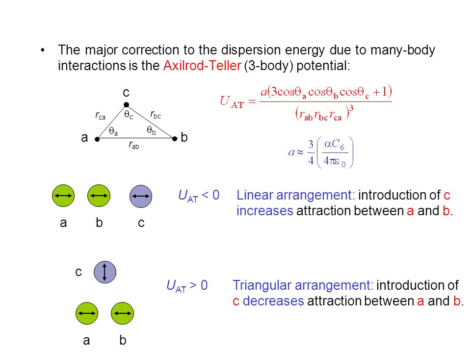 The major correction to the dispersion energy due to many-body interactions is the Axilrod-Teller (3-body) potential:
