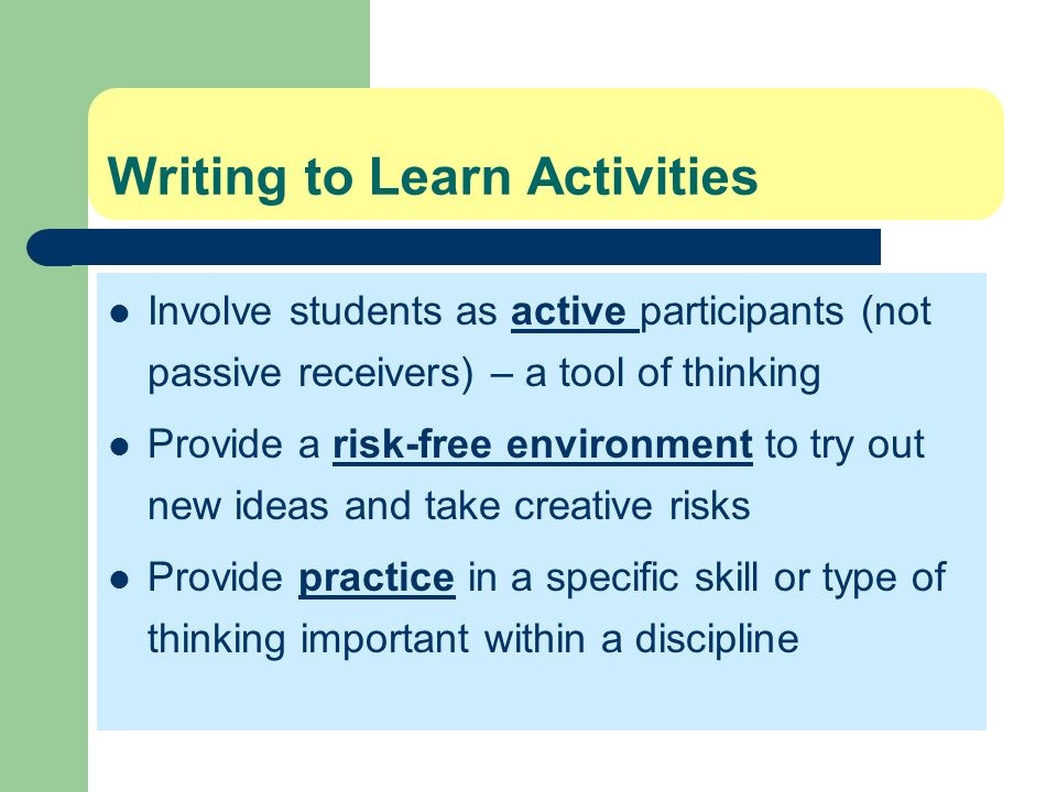 writing to learn activities Using writing-to-learn activities in the foreign language classroom torild homstad & helga thorson a research grant report submitted to the center for.
