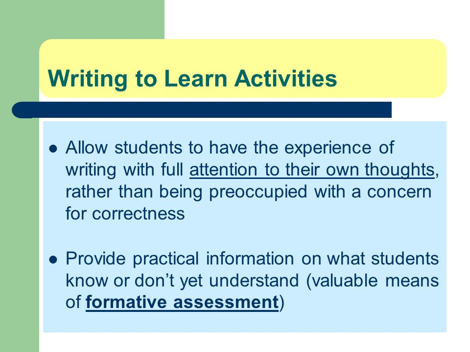 Writing to Learn Activities