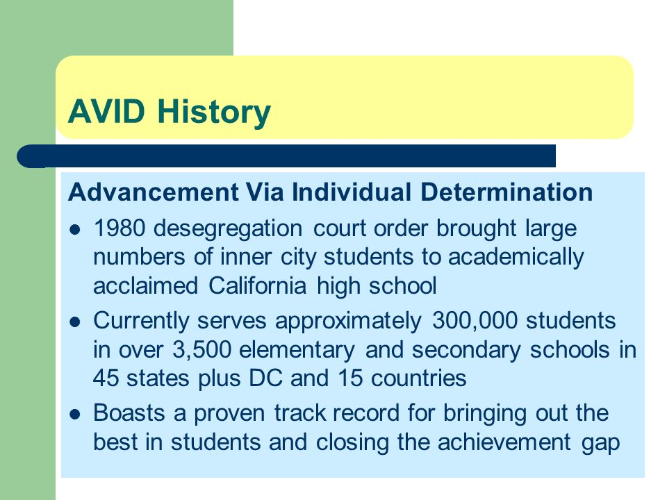 AVID History Advancement Via Individual Determination