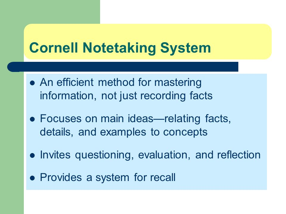 Cornell Notetaking System